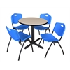 "Cain 30"" Round Breakroom Table- Beige & 4 'M' Stack Chairs- Blue"