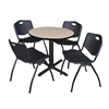 "Cain 30"" Round Breakroom Table- Beige & 4 'M' Stack Chairs- Black"