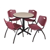 "Cain 30"" Round Breakroom Table- Beige & 4 'M' Stack Chairs- Burgundy"