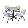 "Cain 30"" Round Breakroom Table- Beige & 4 'M' Stack Chairs- Grey"