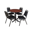 "Cain 30"" Round Breakroom Table- Cherry & 4 Restaurant Stack Chairs- Black"