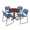"Cain 30"" Round Breakroom Table- Cherry & 4 Zeng Stack Chairs- Blue"