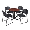 "Cain 30"" Round Breakroom Table- Cherry & 4 Zeng Stack Chairs- Black"