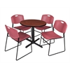 "Cain 30"" Round Breakroom Table- Cherry & 4 Zeng Stack Chairs- Burgundy"