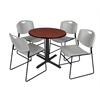"Cain 30"" Round Breakroom Table- Cherry & 4 Zeng Stack Chairs- Grey"