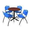 "Cain 30"" Round Breakroom Table- Cherry & 4 'M' Stack Chairs- Blue"