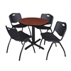 "Cain 30"" Round Breakroom Table- Cherry & 4 'M' Stack Chairs- Black"