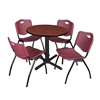 "Cain 30"" Round Breakroom Table- Cherry & 4 'M' Stack Chairs- Burgundy"