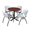 "Cain 30"" Round Breakroom Table- Cherry & 4 'M' Stack Chairs- Grey"