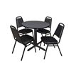 "Cain 30"" Round Breakroom Table- Grey & 4 Restaurant Stack Chairs- Black"