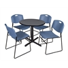 "Cain 30"" Round Breakroom Table- Grey & 4 Zeng Stack Chairs- Blue"