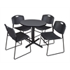 "Cain 30"" Round Breakroom Table- Grey & 4 Zeng Stack Chairs- Black"