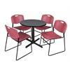 "Cain 30"" Round Breakroom Table- Grey & 4 Zeng Stack Chairs- Burgundy"