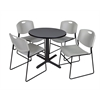 "Cain 30"" Round Breakroom Table- Grey & 4 Zeng Stack Chairs- Grey"