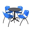 "Cain 30"" Round Breakroom Table- Grey & 4 'M' Stack Chairs- Blue"