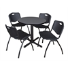 """Cain 30"""" Round Breakroom Table- Grey & 4 'M' Stack Chairs- Black"""