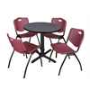 "Cain 30"" Round Breakroom Table- Grey & 4 'M' Stack Chairs- Burgundy"