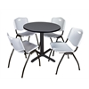 "Cain 30"" Round Breakroom Table- Grey & 4 'M' Stack Chairs- Grey"