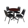 """Cain 30"""" Round Breakroom Table- Mahogany & 4 Restaurant Stack Chairs- Black"""