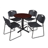 "Cain 30"" Round Breakroom Table- Mahogany & 4 Zeng Stack Chairs- Black"