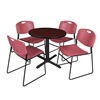 "Cain 30"" Round Breakroom Table- Mahogany & 4 Zeng Stack Chairs- Burgundy"