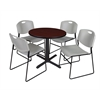 "Cain 30"" Round Breakroom Table- Mahogany & 4 Zeng Stack Chairs- Grey"