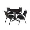 "Cain 30"" Round Breakroom Table- Mocha Walnut & 4 Restaurant Stack Chairs- Black"