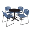 "Cain 30"" Round Breakroom Table- Mocha Walnut & 4 Zeng Stack Chairs- Blue"