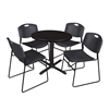 "Cain 30"" Round Breakroom Table- Mocha Walnut & 4 Zeng Stack Chairs- Black"