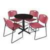 "Cain 30"" Round Breakroom Table- Mocha Walnut & 4 Zeng Stack Chairs- Burgundy"