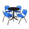 "Cain 30"" Round Breakroom Table- Mocha Walnut & 4 'M' Stack Chairs- Blue"