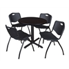 "Cain 30"" Round Breakroom Table- Mocha Walnut & 4 'M' Stack Chairs- Black"