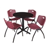 "Cain 30"" Round Breakroom Table- Mocha Walnut & 4 'M' Stack Chairs- Burgundy"