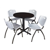 "Cain 30"" Round Breakroom Table- Mocha Walnut & 4 'M' Stack Chairs- Grey"