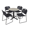 "Cain 30"" Round Breakroom Table- Maple & 4 Zeng Stack Chairs- Black"