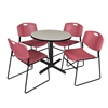 """Cain 30"""" Round Breakroom Table- Maple & 4 Zeng Stack Chairs- Burgundy"""