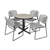 "Cain 30"" Round Breakroom Table- Maple & 4 Zeng Stack Chairs- Grey"