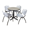 "Cain 30"" Round Breakroom Table- Maple & 4 'M' Stack Chairs- Grey"