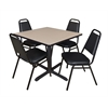 "Cain 36"" Square Breakroom Table- Beige & 4 Restaurant Stack Chairs- Black"