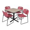 "Cain 36"" Square Breakroom Table- Beige & 4 Zeng Stack Chairs- Burgundy"