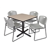 "Cain 36"" Square Breakroom Table- Beige & 4 Zeng Stack Chairs- Grey"