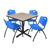 "Cain 36"" Square Breakroom Table- Beige & 4 'M' Stack Chairs- Blue"