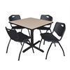 "Cain 36"" Square Breakroom Table- Beige & 4 'M' Stack Chairs- Black"