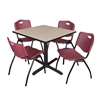 "Cain 36"" Square Breakroom Table- Beige & 4 'M' Stack Chairs- Burgundy"