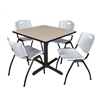 "Cain 36"" Square Breakroom Table- Beige & 4 'M' Stack Chairs- Grey"