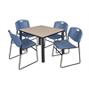 "Kee 36"" Square Breakroom Table- Beige/ Black & 4 Zeng Stack Chairs- Blue"