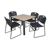 "Kee 36"" Square Breakroom Table- Beige/ Black & 4 Zeng Stack Chairs- Black"