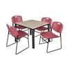 "Kee 36"" Square Breakroom Table- Beige/ Black & 4 Zeng Stack Chairs- Burgundy"