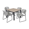 "Kee 36"" Square Breakroom Table- Beige/ Black & 4 Zeng Stack Chairs- Grey"