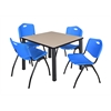 "Kee 36"" Square Breakroom Table- Beige/ Black & 4 'M' Stack Chairs- Blue"
